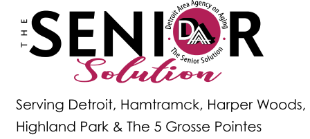 Detroit Area Agency on Aging | The Senior Solution logo with the 5 service areas
